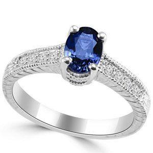 Vintage style CEYLON SAPPHIRE jewelry diamond ring